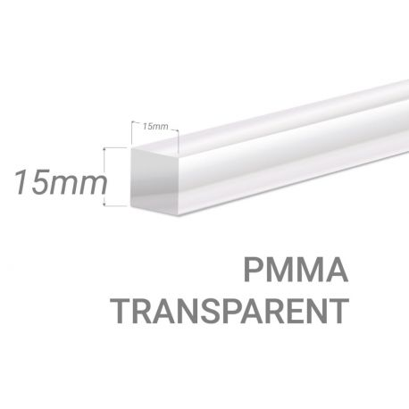 Barre carré PMMA Incolore 15x15mm