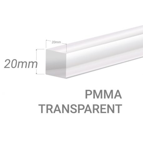 Colorless Acrylic square bar 20x20mm