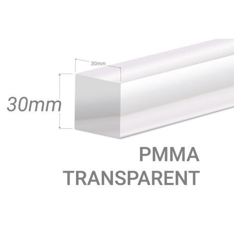 Colorless Acrylic square bar 30x30mm