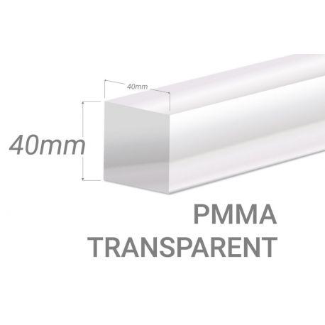 Barre carré PMMA Incolore 25x25mm