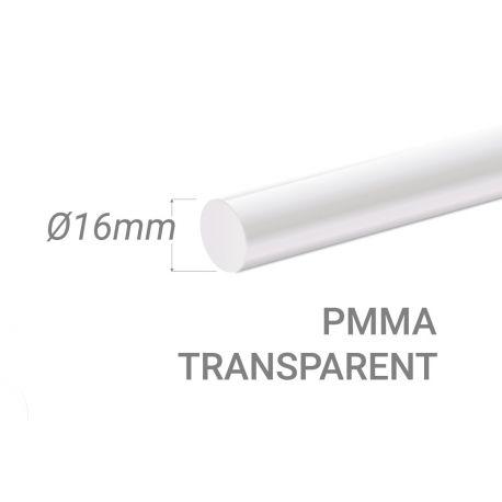 Bâton PMMA Incolore Diam. 16mm