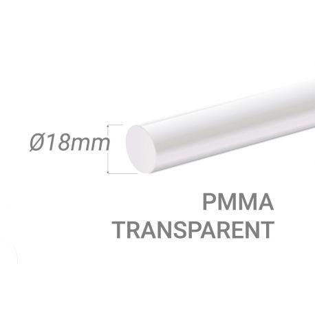Bâton PMMA Incolore Diam. 18mm