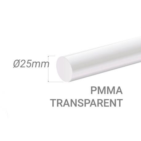 Bâton PMMA Incolore Diam. 25mm