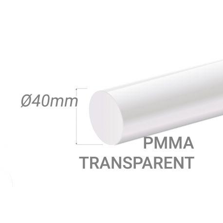Bâton PMMA Incolore Diam. 40mm